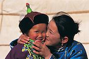 Gobi Nomads at ger<br /> Gobi Desert<br /> Mongolia