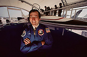 Glenn Spacht, a X-29 test pilot at the Paris Air Show, at Le Bourget Airport, France. Held every other year, the event is one of the world's biggest international trade fairs for the aerospace business. Rolls-Royce makes airplane engines.