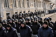 KIEV, UKRAINE - DECEMBER 4: Police guard the Presidential Administration building on December 4, 2013 in Kiev, Ukraine. Thousands of people have been protesting against the government since a decision by Ukrainian president Viktor Yanukovych to suspend a trade and partnership agreement with the European Union in favor of incentives from Russia. (Photo by Brendan Hoffman/Getty Images) *** Local Caption ***