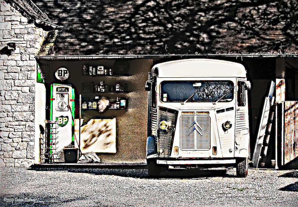 Antique Citroen and BP petrol pump in Dinant Belgium