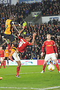 Hull City midfielder Mohammed Diame (17) and Nottingham Forest defender Michael Mancienne(4) in the goal area  during the Sky Bet Championship match between Hull City and Nottingham Forest at the KC Stadium, Kingston upon Hull, England on 15 March 2016. Photo by Ian Lyall.