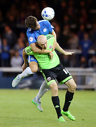 Alex Davey of Peterborough United in action with Conor Sammon of Sheffield United - Mandatory byline: Joe Dent/JMP - 07966386802 - 18/08/2015 - FOOTBALL - ABAX Stadium -Peterborough,England - Peterborough United v Sheffield United - Sky Bet League One