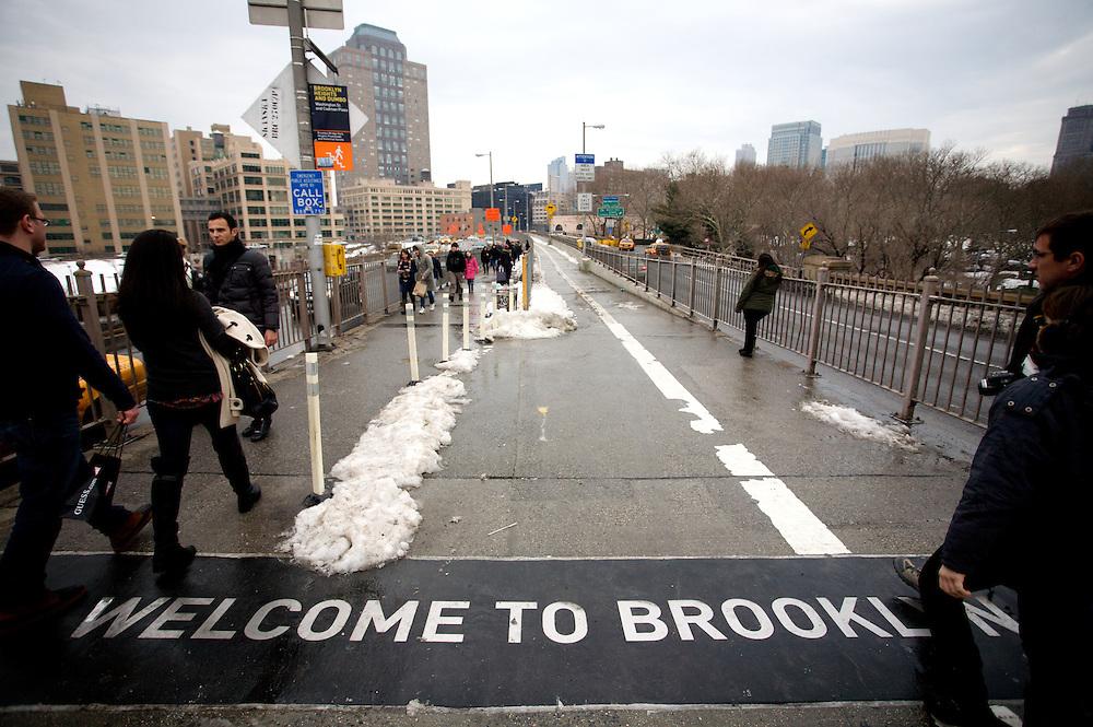 Brooklyn Bridge, New York. January 1, 2011