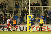 B Burns converts a penalty during the Aviva Premiership match between Sale Sharks and Gloucester Rugby at the AJ Bell Stadium, Eccles, United Kingdom on 29 September 2017. Photo by George Franks.