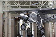 St. Louis Missouri MO USA, The Missouri historical society museum in Forest Park. Replica of the Spirit of St. Louis first trans-Atlantic flight by Charles Lindberg. The original Spirit of St. Louis is currently on display at the National Air and Space Museum in Washington, DC