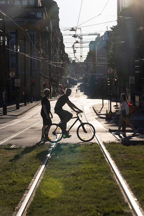 Bike and tram lanes in Oslo city centre.