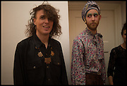 ADAM CHRISTENSEN; PAUL KINDERSLEY, Frieze dinner  hosted at by Valeria Napoleone for  Marvin Gaye Chetwynd, Anne Collier and Studio Voltaire 20th anniversary autumn programme. Kensington. London. 14 October 2014.