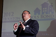Leo Bobadilla, HISD's chief operating officer, presents at the 2013 Council of Educational Facility Planners International  Southern Region Conference in Austin on Friday about planning and passing a $1.89 billion bond referendum.<br /> Photo by Christina Burke