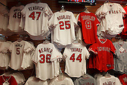 ANAHEIM, CA - MAY 15:  Los Angeles Angels of Anaheim jerseys are on sale at the game against the Oakland Athletics on Tuesday, May 15, 2012 at Angel Stadium in Anaheim, California. The Angels won the game 4-0. (Photo by Paul Spinelli/MLB Photos via Getty Images)