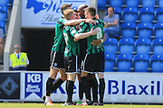 Calvin Andrew goal celebrations 1-2 during the Sky Bet League 1 match between Colchester United and Rochdale at the Weston Homes Community Stadium, Colchester, England on 8 May 2016. Photo by Daniel Youngs.