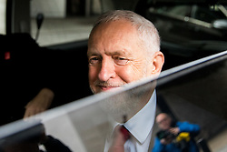 © Licensed to London News Pictures. 15/04/2018. London, UK. Leader of the Labour Party Jeremy Corbyn leaves BBC Broadcasting House after appearing on The Andrew Marr Show this morning. In the early hours of yesterday (Saturday) morning, British Prime Minister Theresa May ordered UK forces to join the US and France in targeted air strikes on a military base near Homs, Syria, believed to be a chemical weapons facility. Corbyn disagrees with the lack of parliamentary discussion preceding the decision. Photo credit : Tom Nicholson/LNP