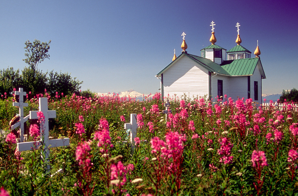 """Ninilchik, AK:  Golden yellow onion dome steeples marked with three-bar crosses top the Transfiguration of Our Lord, a small Russian Orthodox church on a hill above town. The name of this picturesque fishing community on the Kenai's west coast means """"peaceful settlement by a river.""""  Located approximately 40 miles south of Soldotna, it was settled in the early 1800's by Russian colonists.  Some of the old buildings still exist in the Ninilchik village and many descendants of the old families still live here."""