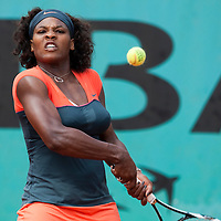 3 June 2009: Serena Williams of USA eyes the ball as she prepares a backhand during the Women's single quarter final match on day eleven of the French Open at Roland Garros in Paris, France.
