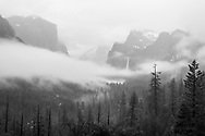 Tunnel View with early morning winter mist in Yosemite National Park, California