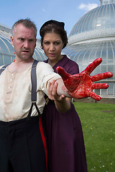 Pictured:   Bard in the Botanics . The latest production features a version of Macbeth set in 1950s, directed by Gordon Barr. Kirk Bage (Macbeth) and Nicole Cooper (Lady Macbeth) have blood on their hands as they perform the murder of Duncan scene on the main stage<br />