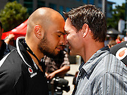 Sam Rapira and Vodafone CEO Russell Stanners hongi. Vodafone Warriors press conference to announce a 4 year sponsorship extension from Vodafone. Vodafone Head Office, Viaduct Harbour, Auckland.  Thursday 10 December 2009. Photo: Simon Watts/PHOTOSPORT