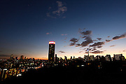 South Africa. Johannesburg skyline at night including the Ponte and Telkom towers and Hillbrow, © Zute Lightfoot www.lightfootphoto.com..