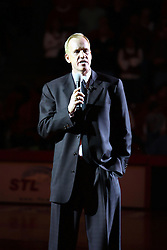 03 February 2007: Doug Collins speaks to the crowd during a half-time ceremony naming the court in Redbird Arena Doug Collins Court. Collins is regarded as the most prolific student athlete to ever attend Illinois State University. In what is locally referred to as the War on Seventy Four, the Bradley Braves defeated the Illinois State University Redbirds 70-62 on Doug Collins Court inside Redbird Arena in Normal Illinois.