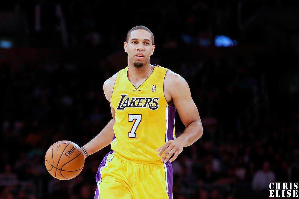 19 March 2014: Los Angeles Lakers forward Xavier Henry (7) brings the ball up court during the San Antonio Spurs 125-109 victory over the Los Angeles Lakers at the Staples Center, Los Angeles, California, USA.