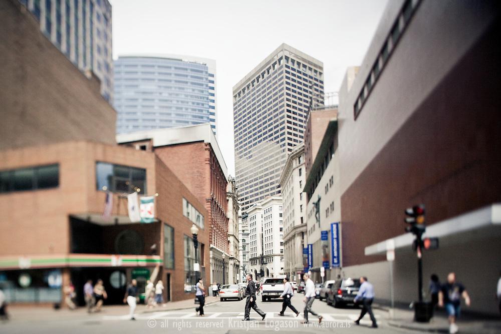 People Crossing street in Boston