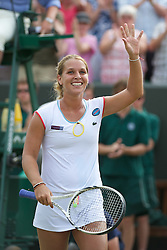 27.06.2011, Wimbledon, London, GBR, WTA Tour, Wimbledon Tennis Championships, im Bild Dominika Cibulkova (SVK) celebrates winning the Ladies' Singles 4th Round match on day seven of the Wimbledon Lawn Tennis Championships at the All England Lawn Tennis and Croquet Club. EXPA Pictures © 2011, PhotoCredit: EXPA/ Propaganda/ David Rawcliffe +++++ ATTENTION - OUT OF ENGLAND/UK +++++ // SPORTIDA PHOTO AGENCY