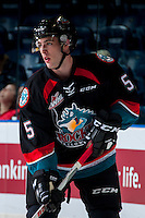 KELOWNA, CANADA - SEPTEMBER 24: Konrad Belcourt #5 of the Kelowna Rockets warms up against the Kamloops Blazers on September 24, 2016 at Prospera Place in Kelowna, British Columbia, Canada.  (Photo by Marissa Baecker/Shoot the Breeze)  *** Local Caption *** Konrad Belcourt;