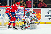 KELOWNA, CANADA - MARCH 13: James Porter #1 of the Kelowna Rockets defends the net against the Spokane Chiefs  on March 13, 2019 at Prospera Place in Kelowna, British Columbia, Canada.  (Photo by Marissa Baecker/Shoot the Breeze)