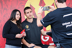 June 3, 2017 - Brussels, BELGIUM - Belgium's goalkeeper Koen Casteels meets a fan after the family day of Belgian national soccer team Red Devils, Saturday 03 June 2017, in Brussels. Belgium plays a friendly game against Czech Republic on 05 June and a World Cup 2018 qualifier in Estonia. BELGA PHOTO BRUNO FAHY (Credit Image: © Bruno Fahy/Belga via ZUMA Press)