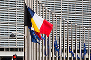 Brussels 23 March 2016 Flags at the European Union half mast. With the Belgian and French national flag due to the minute silence at 12 with French and Belgain ministers