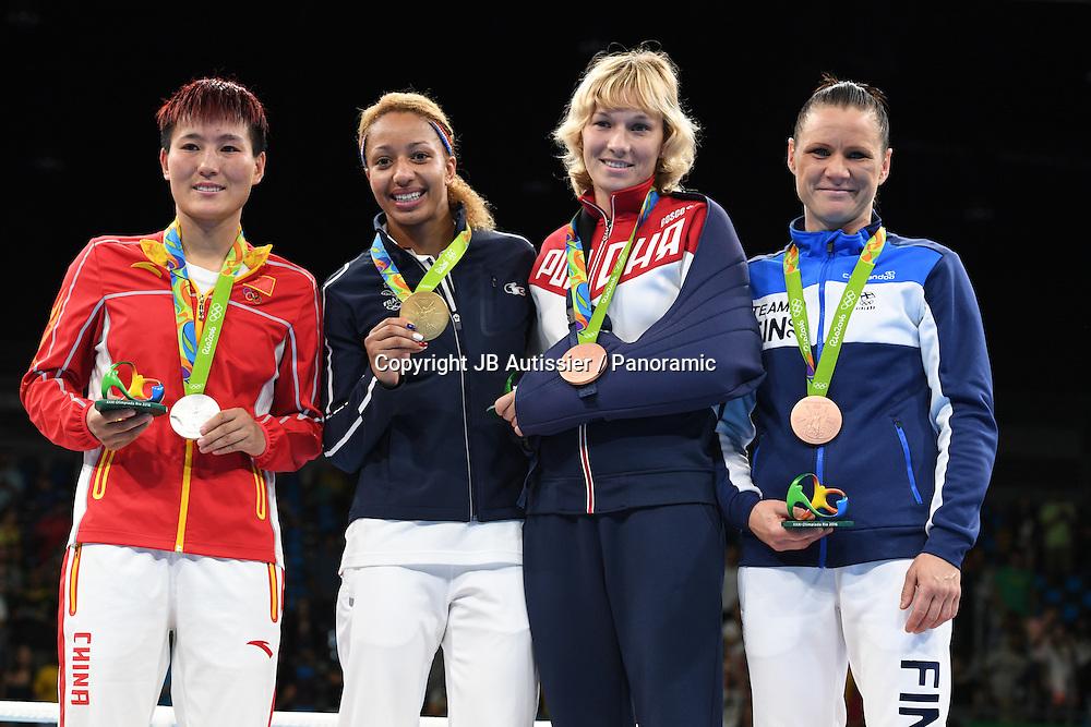 podium femme poids leger 57/60kg<br /> MOSSELY Estelle (fra) medaille d or<br /> YIN Junhua (chn) medaille d argent<br /> BELIAKOV A Anastasiia (rus) medaille de bronze<br /> POTKONEN Mira (fin) medaille de bronze