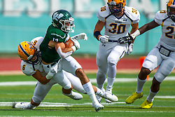 BLOOMINGTON, IL - September 28:  J.J. Cervino stops the run by Zach Mitchell during a college football game between the IWU Titans and the Augustana Vikings on September 28 2019 at Wilder Field in Tucci Stadium in Bloomington, IL. (Photo by Alan Look)