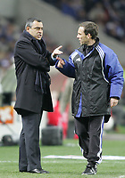 "PORTUGAL - PORTO 28 FEBRUARY 2005: JOSE COUCEIRO FC Porto coach speaks to the fourth referee, in the 23 leg of the Portuguese soccer league ""Super Liga"" FC Porto (1) vs SL Benfica (1), held in ""Dragao"" stadium  28/02/2005  20:34:36<br />