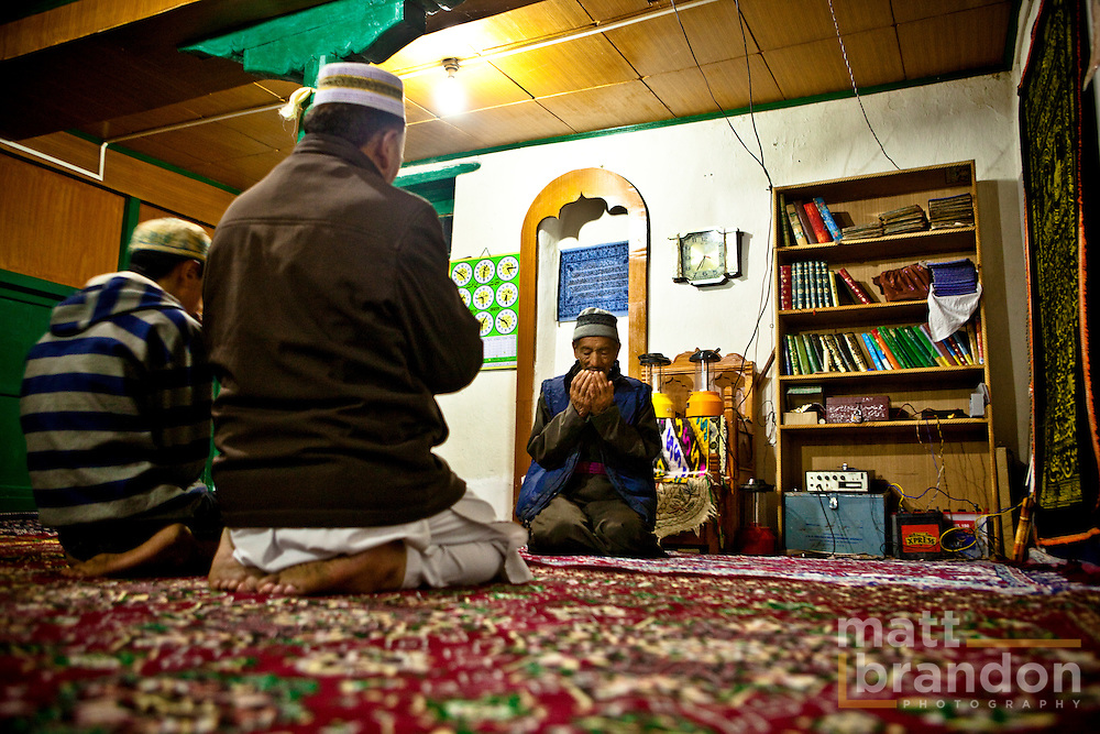 Ladakhi Muslims pray in their mosque at Nubra.