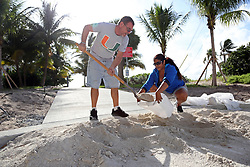 James Kiernan and Liz Hankins, of North Lauderdale, fill trash bags with sand on Pompano Beach in preparation for Hurricane Irma on Friday, Sept. 8, 2017.  (Amy Beth Bennett /Sun Sentinel/TNS/Sipa USA)<br />SOUTH FLORIDA OUT; NO MAGS; NO SALES; NO INTERNET; NO TV
