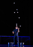 Cirque Eloize<br /> Hotel <br /> Directed by Emmanuel Guillaume <br /> <br /> At Peacock Theatre, London, Great Britain <br /> Press photo call <br /> 20th February 2019 <br /> <br /> Una Bennett - aerial Rope <br /> <br /> Philippe Dupuis - juggling <br /> <br /> Emma Rogers, Andrei Anissimov and company - Hand to hand <br /> <br /> Celebrating its 25th anniversary Canadian contemporary circus company Cirque Eloize opens its new show Hotel from 20th February 2019 to 9th March 2019. <br /> <br /> Photograph by Elliott Franks