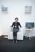 TOMOMI SAYUDA ON THE I-BUM. RESONANCE STAND, Opening of Frieze 2009. Regent's Park. London. 14 October 2009 *** Local Caption *** -DO NOT ARCHIVE-© Copyright Photograph by Dafydd Jones. 248 Clapham Rd. London SW9 0PZ. Tel 0207 820 0771. www.dafjones.com.<br /> TOMOMI SAYUDA ON THE I-BUM. RESONANCE STAND, Opening of Frieze 2009. Regent's Park. London. 14 October 2009