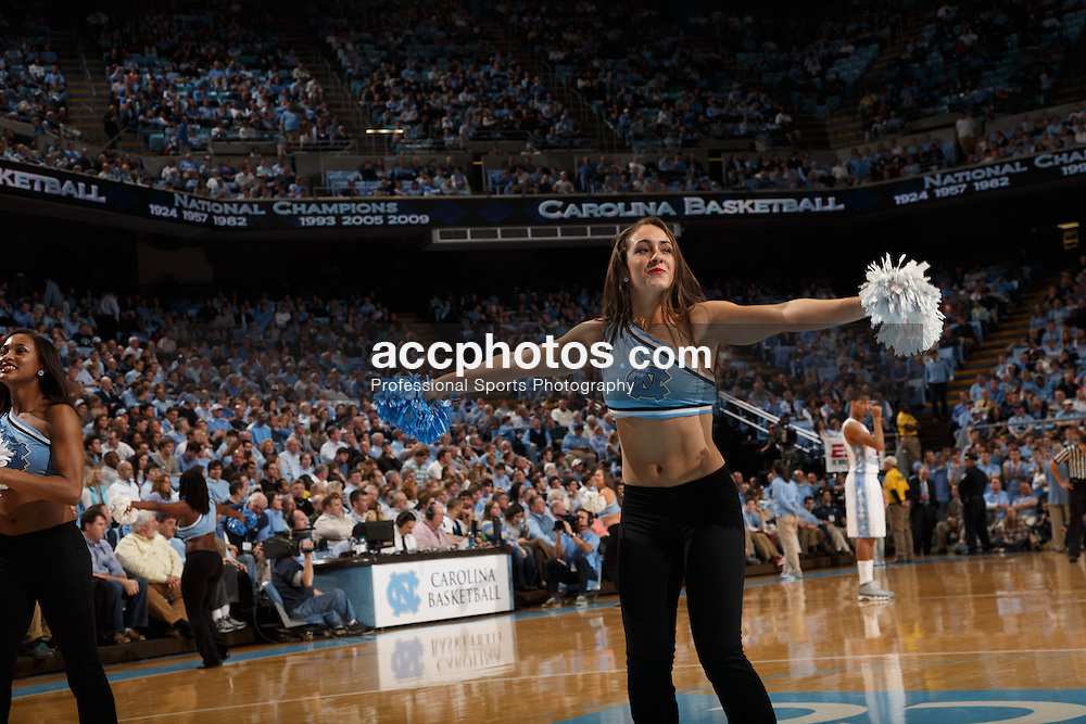 CHAPEL HILL, NC - JANUARY 23: A member of the North Carolina Tar Heels dance team dances for fans during a game against the Georgia Tech Yellow Jackets on January 23, 2013 at the Dean E. Smith Center in Chapel Hill, North Carolina. North Carolina won 63-79. (Photo by Peyton Williams/UNC/Getty Images)