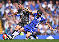 Pedro of Chelsea and Danny Drinkwater of Leicester City during the Barclays Premier League match at Stamford Bridge, London<br /> Picture by Andrew Timms/Focus Images Ltd +44 7917 236526<br /> 14/05/2016