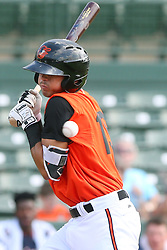 July 17, 2018 - Sarasota, FL, U.S. - Sarasota, FL - JUL 17: Andrew Fregia (19) of the Orioles is hit by the pitch during the Gulf Coast League (GCL) game between the GCL Twins and the GCL Orioles on July 17, 2018, at Ed Smith Stadium in Sarasota, FL. (Photo by Cliff Welch/Icon Sportswire) (Credit Image: © Cliff Welch/Icon SMI via ZUMA Press)