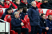 Crystal Palace Manager Roy Hodgson  and the Crystal Palace bench during the Premier League match between Liverpool and Crystal Palace at Anfield, Liverpool, England on 19 January 2019.
