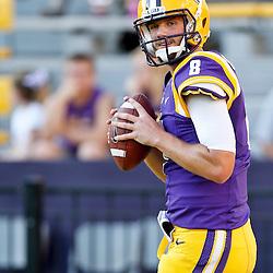 Oct 26, 2013; Baton Rouge, LA, USA; LSU Tigers quarterback Zach Mettenberger (8) prior to a game against the Furman Paladins at Tiger Stadium. Mandatory Credit: Derick E. Hingle-USA TODAY Sports