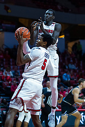 NORMAL, IL - October 23: Keith Fisher III pulls in the rebound in front of teammate Abdou Ndiaye during a college basketball game between the ISU Redbirds and the Truman State Bulldogs on October 23 2019 at Redbird Arena in Normal, IL. (Photo by Alan Look)