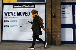 © Licensed to London News Pictures. 17/03/2020. London, UK. A Carphone Warehouse store in  Islington, north London has already closed. 2900 jobs will be lost as Dixons Carphone plans to close all 531 of its stand-alone Carphone Warehouse shops across the UK. Photo credit: Dinendra Haria/LNP