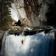 Darin McQuoid dropping in on 50 feet of freefall on the South Branch of the Middle Fork of the Feather river near Oroville, California.