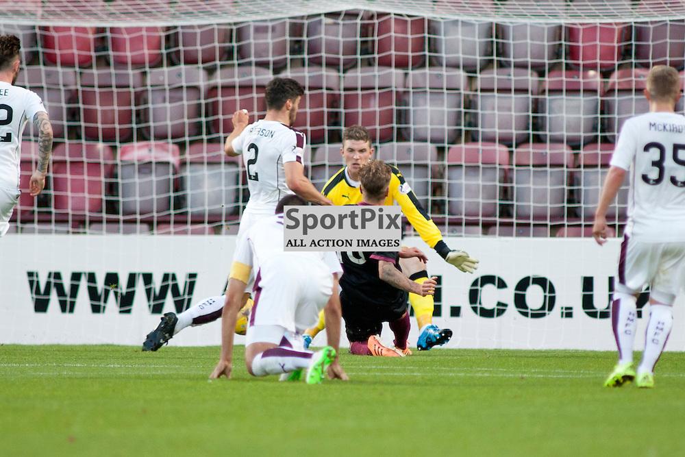 David Gold scoring for Arbroath in the Hearts v Arbroath Scottish League Cup at Tynecastle Stadium, Edinburgh. <br />30 July 2015<br /><br />(c) Russell G Sneddon / SportPix.org.uk