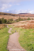 Moorland scenic : view of Carl Wark from the Longshaw Estate, Peak District, Derbyshire, UK