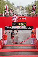 Ben Dijkstra of the East Midlands crosses the finishing line to win the under 17 boys race in the Virgin Giving Mini London marathon , Sunday 26th April 2015.<br /> <br /> Dillon Bryden for Virgin Money London Marathon<br /> <br /> For more information please contact Penny Dain at pennyd@london-marathon.co.uk