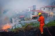 A fireman hoses a fire in a residential area of the city of Funchal, Madeira island, Portugal, 10 August 2016. Wild fires on the Madeira island have destroyed several buildings in the capital and reportedly killing at least three people. EPA/GREGORIO CUNHA
