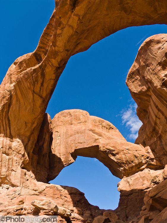 Double Arch erodes from Entrada Sandstone in Arches National Park, Utah.