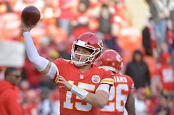 Dec 30, 2018; Kansas City, MO, USA; Kansas City Chiefs quarterback Patrick Mahomes (15) warms up before the game against the Oakland Raiders at Arrowhead Stadium. Mandatory Credit: Denny Medley-USA TODAY Sports
